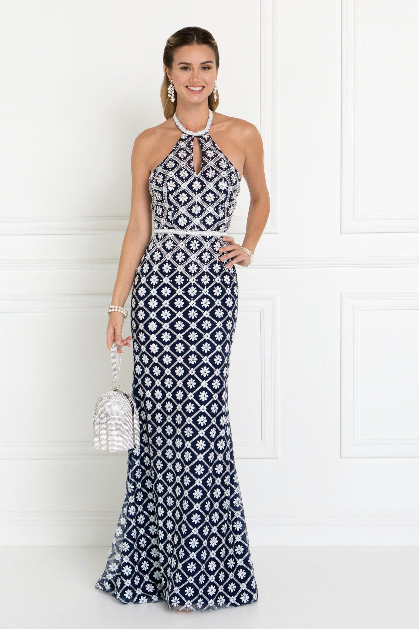 caf1ab44756 Look fabulous in this long evening dress with halter neck. An elegant gown  great for a gala or formal event. This stunning dress is adorn with  sparkling ...