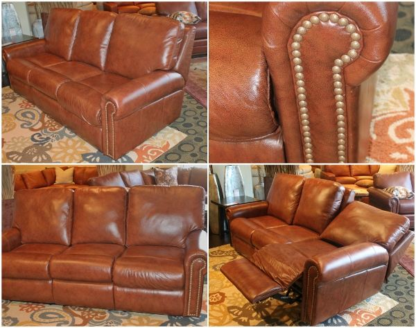 Fairmont 3 Seat Reclining Sofa, Top Grain Italian Leather, Power Recline,  Nail Head Accents, Made In The USA   Entertaining Design, Peters Billiards