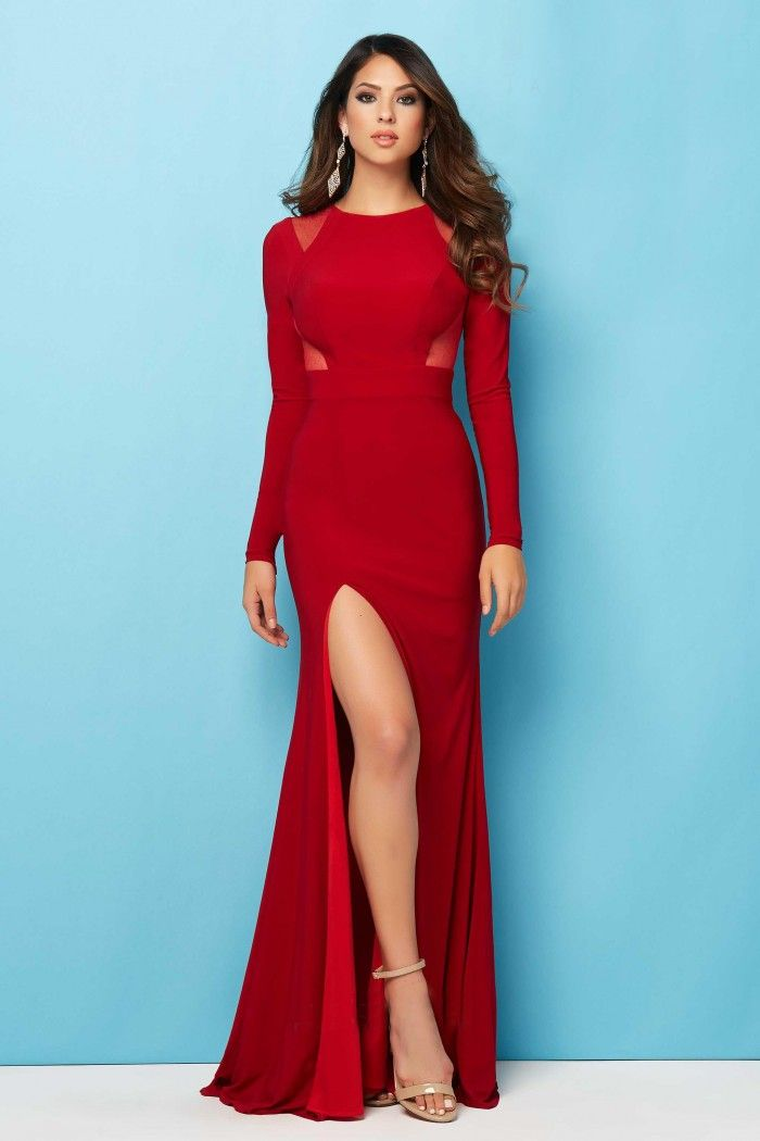 Fitted Long Sleeve High Slit Red Jersey Evening Prom Dress Red