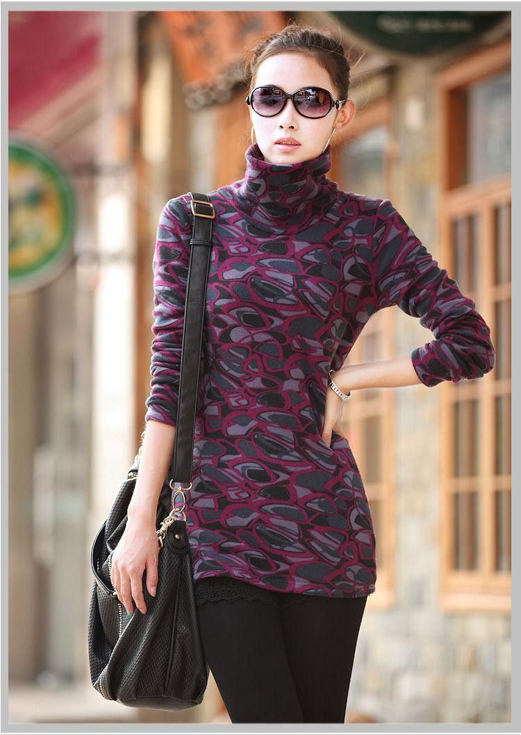0bfc4d460c322 Available in Large Sizes Woman casual plus size Leopard Turtleneck plus  velvet thicken sweaters women hedging stretch warm sweater D12