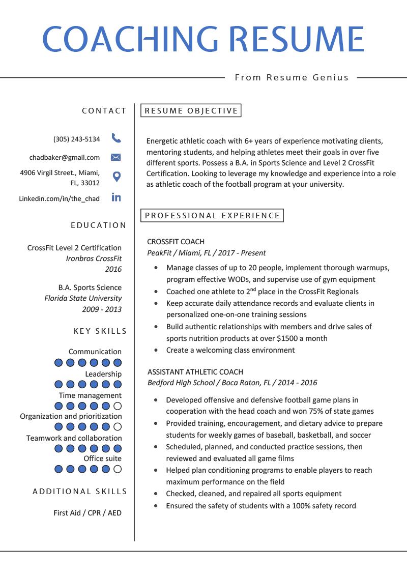 Coaching Resume Sample & Writing Tips Resume Genius in