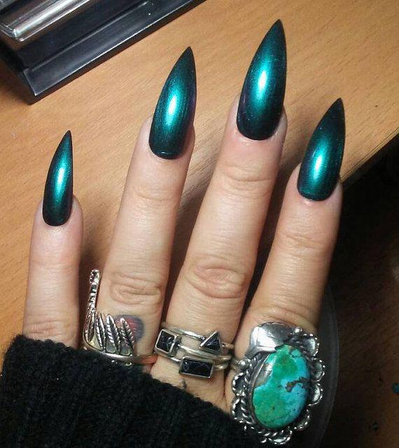 holographic chrome stiletto nails