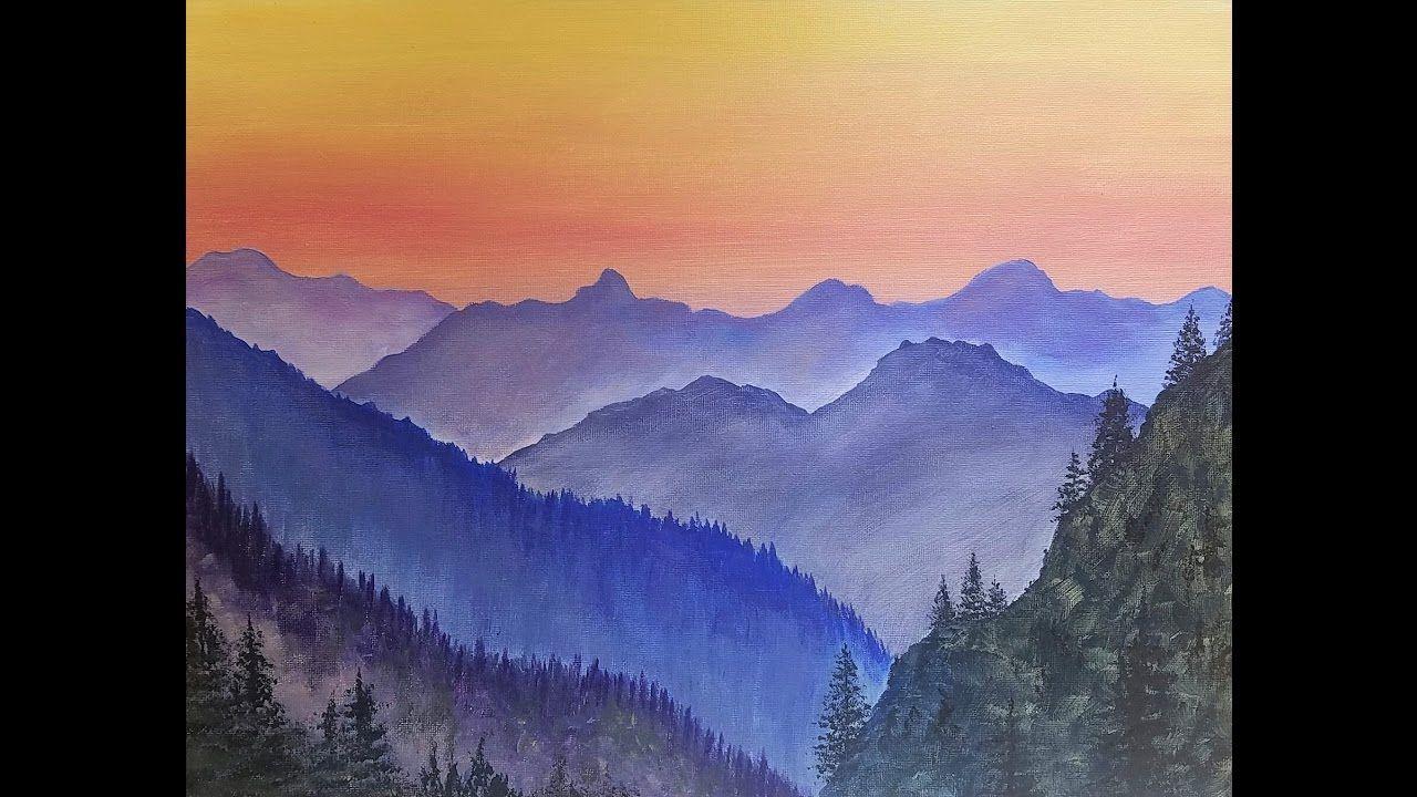 Simple Mountain Landscape Acrylic Painting Tutorial Live Beginner Lesson Folk Art Painting Mountain Landscape Painting Landscape Painting Tutorial