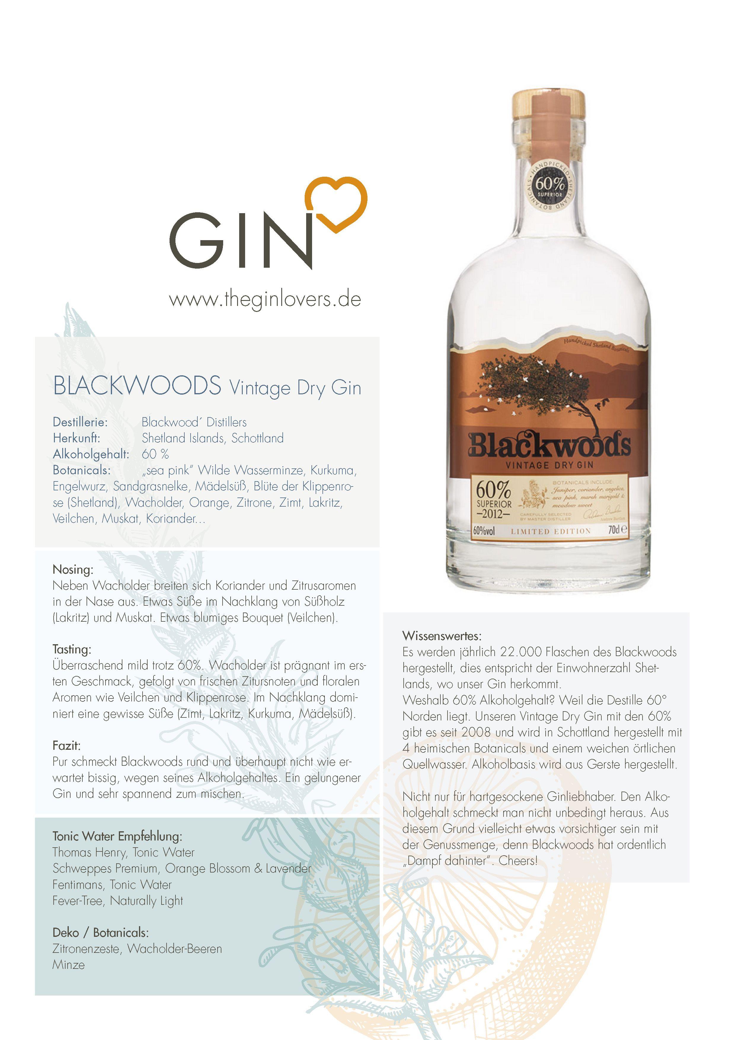 Blackwood S Vintage Dry Gin 60 Gin Review Lakritz Alkoholgehalt Minze