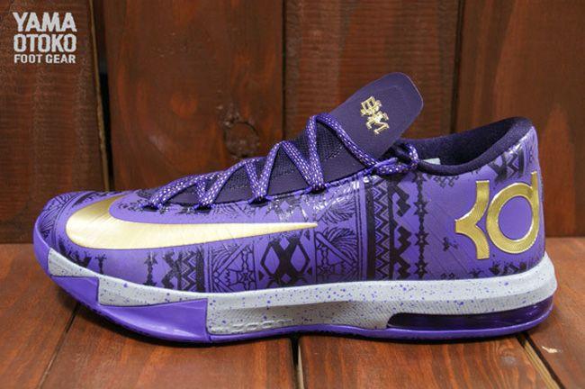 Men's Nike KD 6 VI BHM Black History Month Purple Gold Sneakers : W55q4343