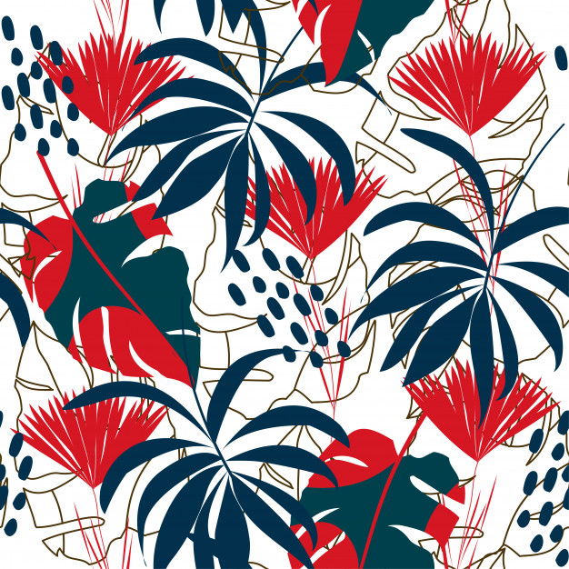 Abstract Seamless Pattern With Colorful Tropical Leaves And Plants On White Background