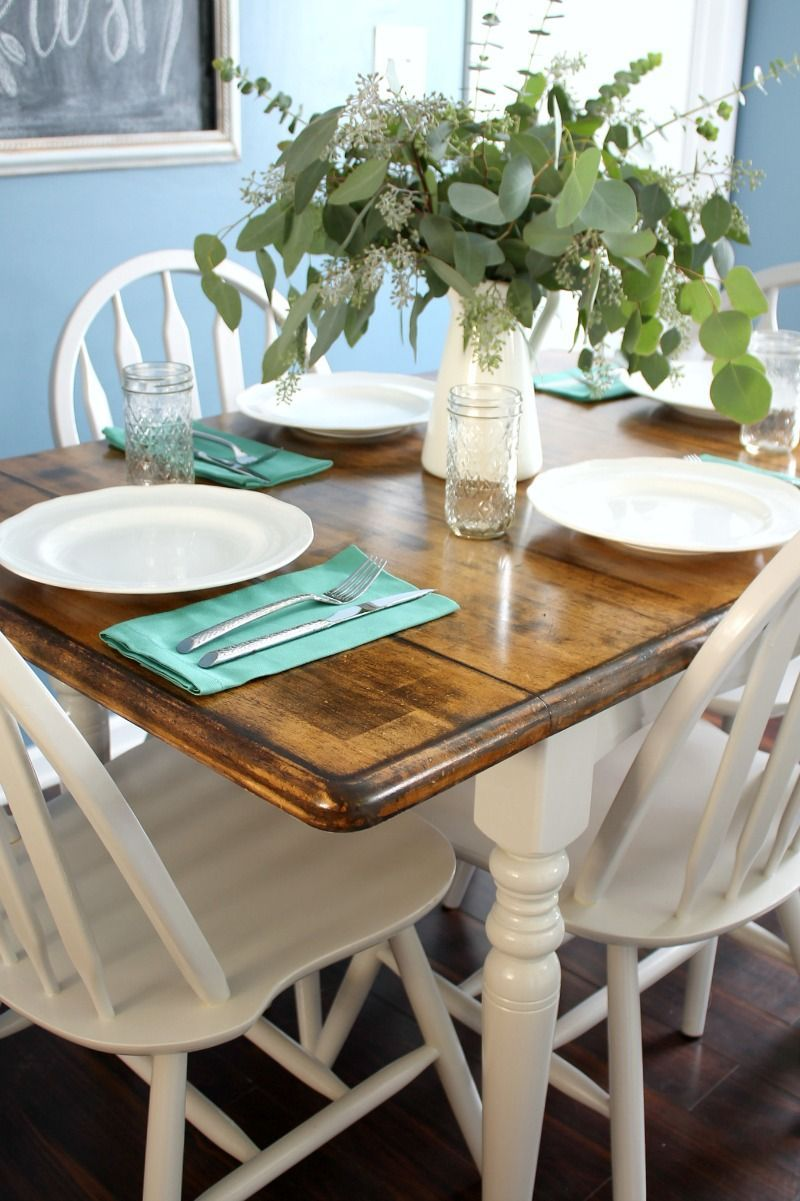 how to painted and stained kitchen table makeover