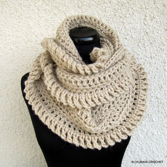 Hand Crocheted Scarf, Unique Scarf, Infinity Scarf, Beige Scarf ...
