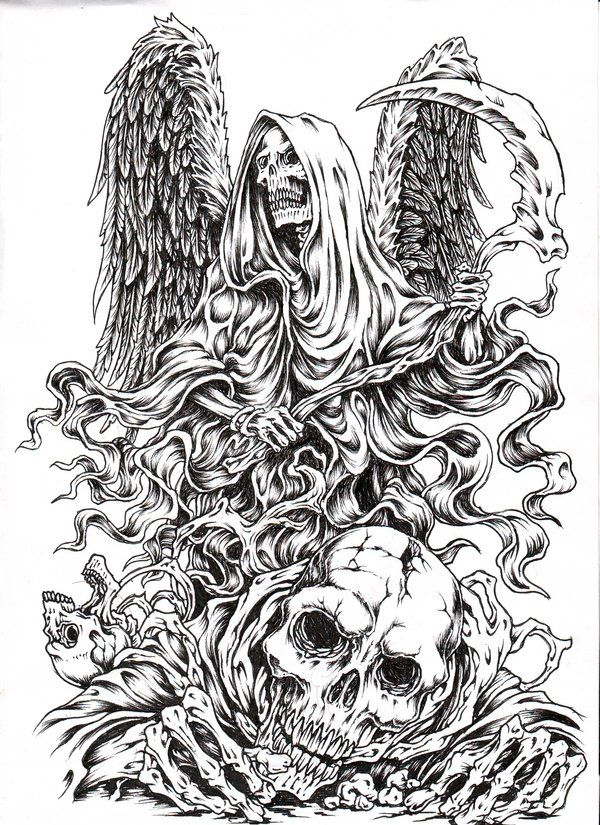 Godofdeath3 Tattoo Art Drawings Skulls Drawing Coloring Pages