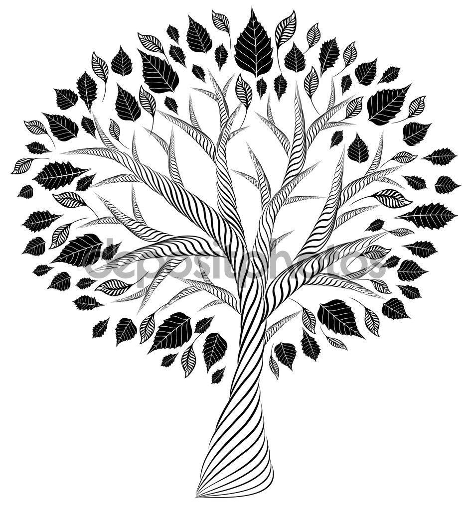 Скачать - Стилизованные tree.pencil drawing.silhouette ...