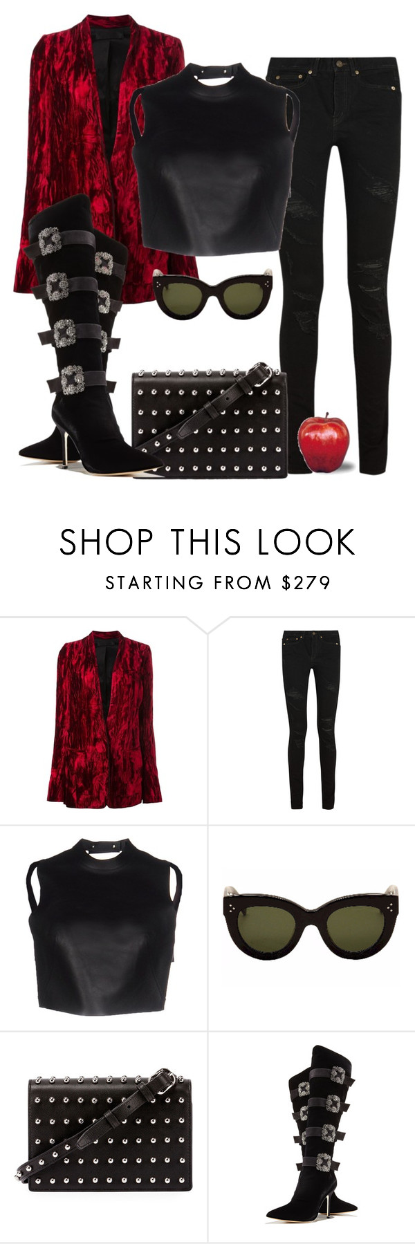 """Untitled #2486"" by applelula ❤ liked on Polyvore featuring Haider Ackermann, Yves Saint Laurent, Alexander Wang, CÉLINE and Manolo Blahnik"