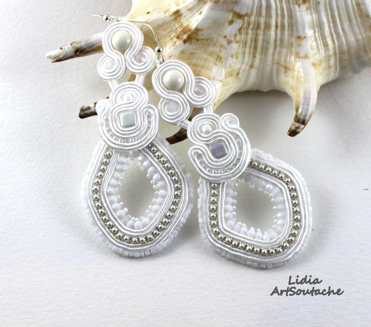 white earrings soutache soutache sutasz my work jewelry
