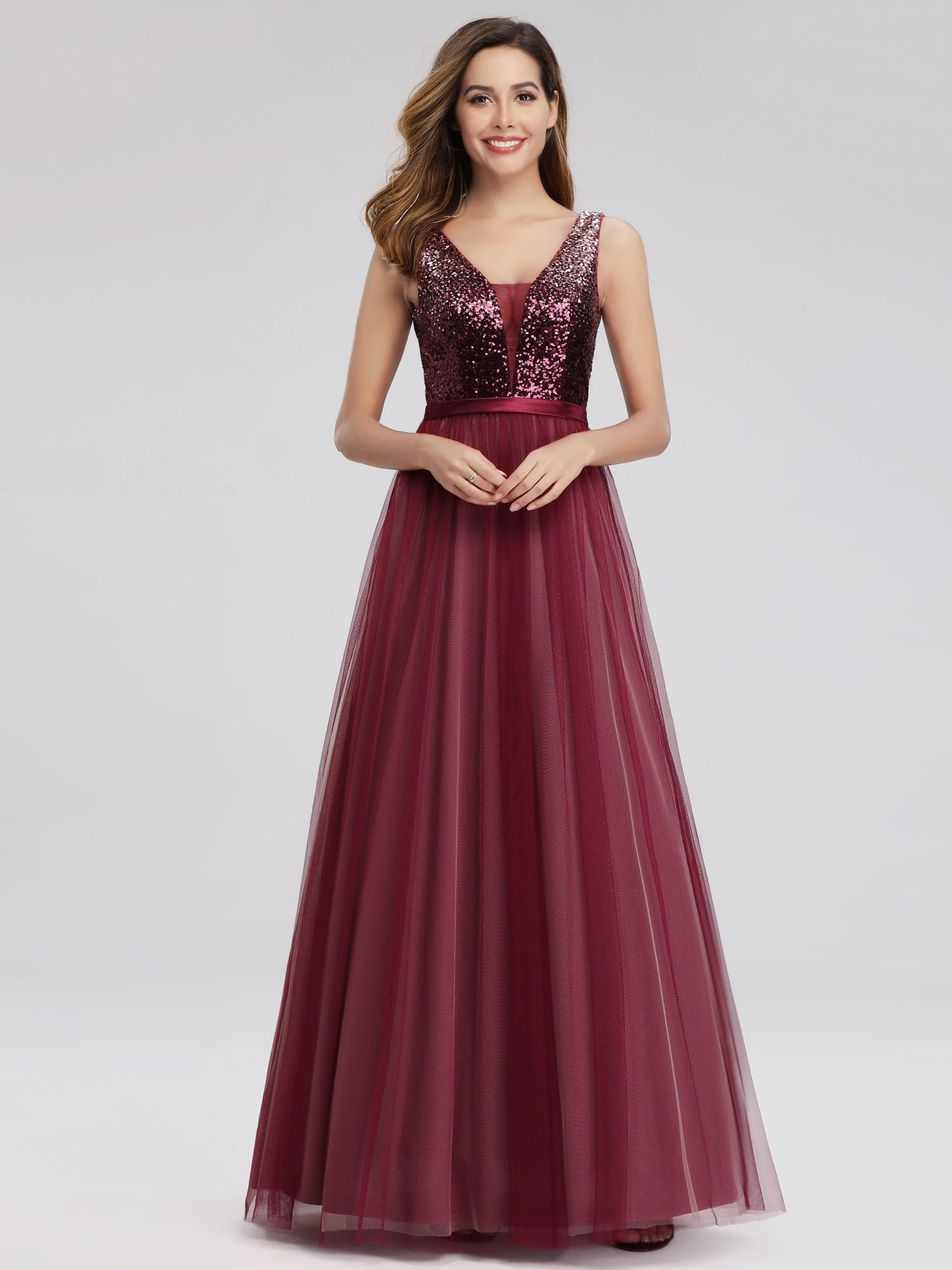 Ever Pretty Ever Pretty Womens Elegant V Neck Formal Evening Dresses For Women 07910 Burgundy Us4 Walmart Com Prom Dresses Sleeveless Evening Gowns Prom Dresses Long [ 2000 x 1500 Pixel ]