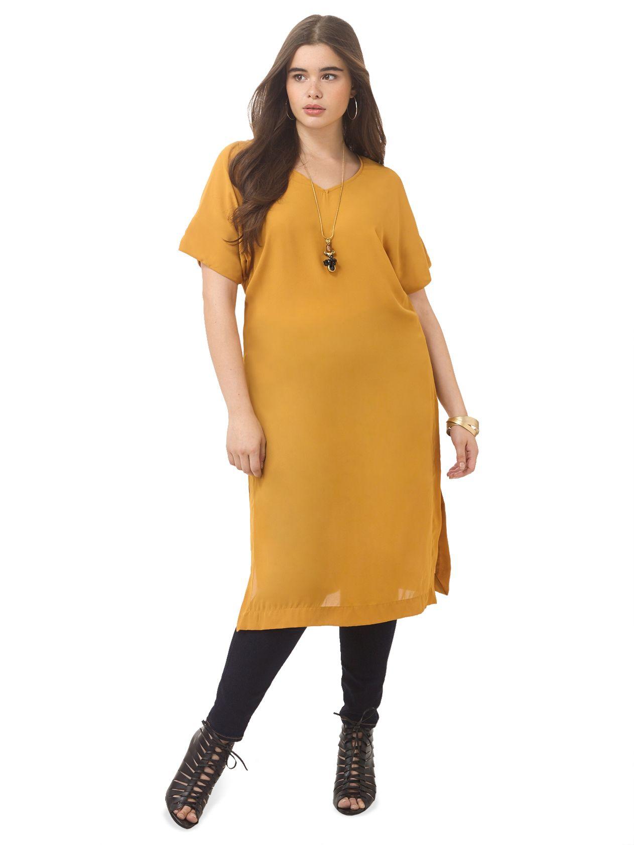 Mustard V Neck Dress