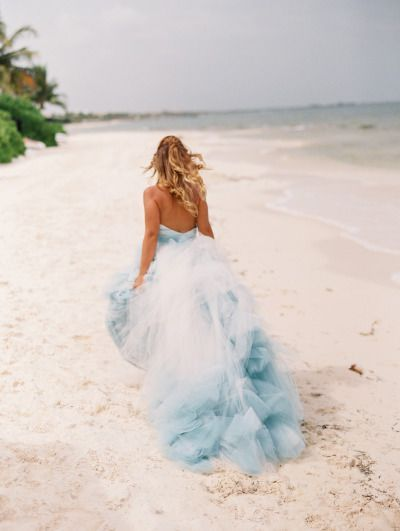 Ombre wedding dress, Blue beach wedding