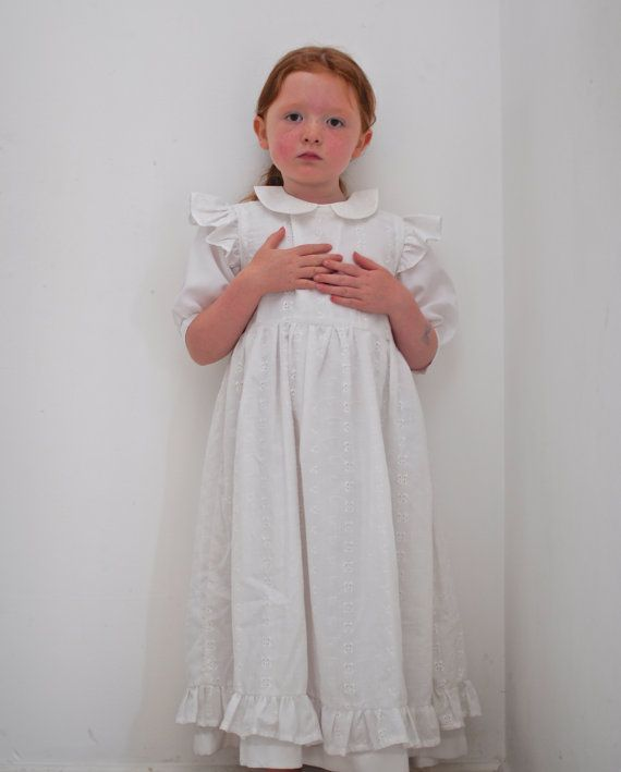 vintage first communion dress victorian style pinafore dress