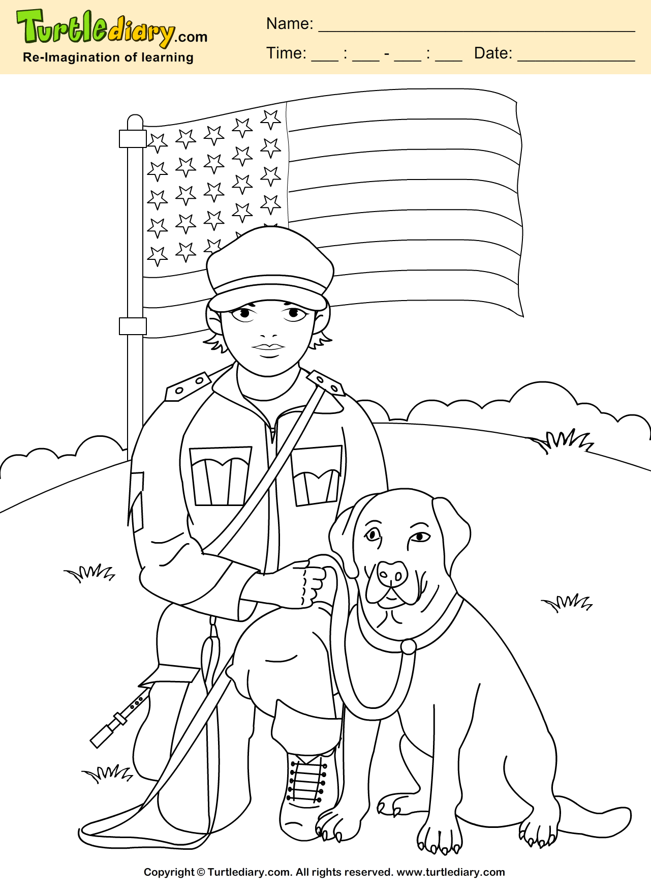 Soldier With Dog Coloring Sheet Veterans Day Coloring Page Jungle Coloring Pages Dog Coloring Page [ 1754 x 1281 Pixel ]