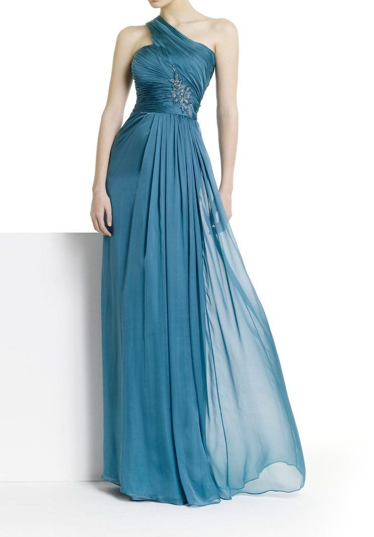 Long Evening Gown Dresses Home Evening Chiffon One Shoulder