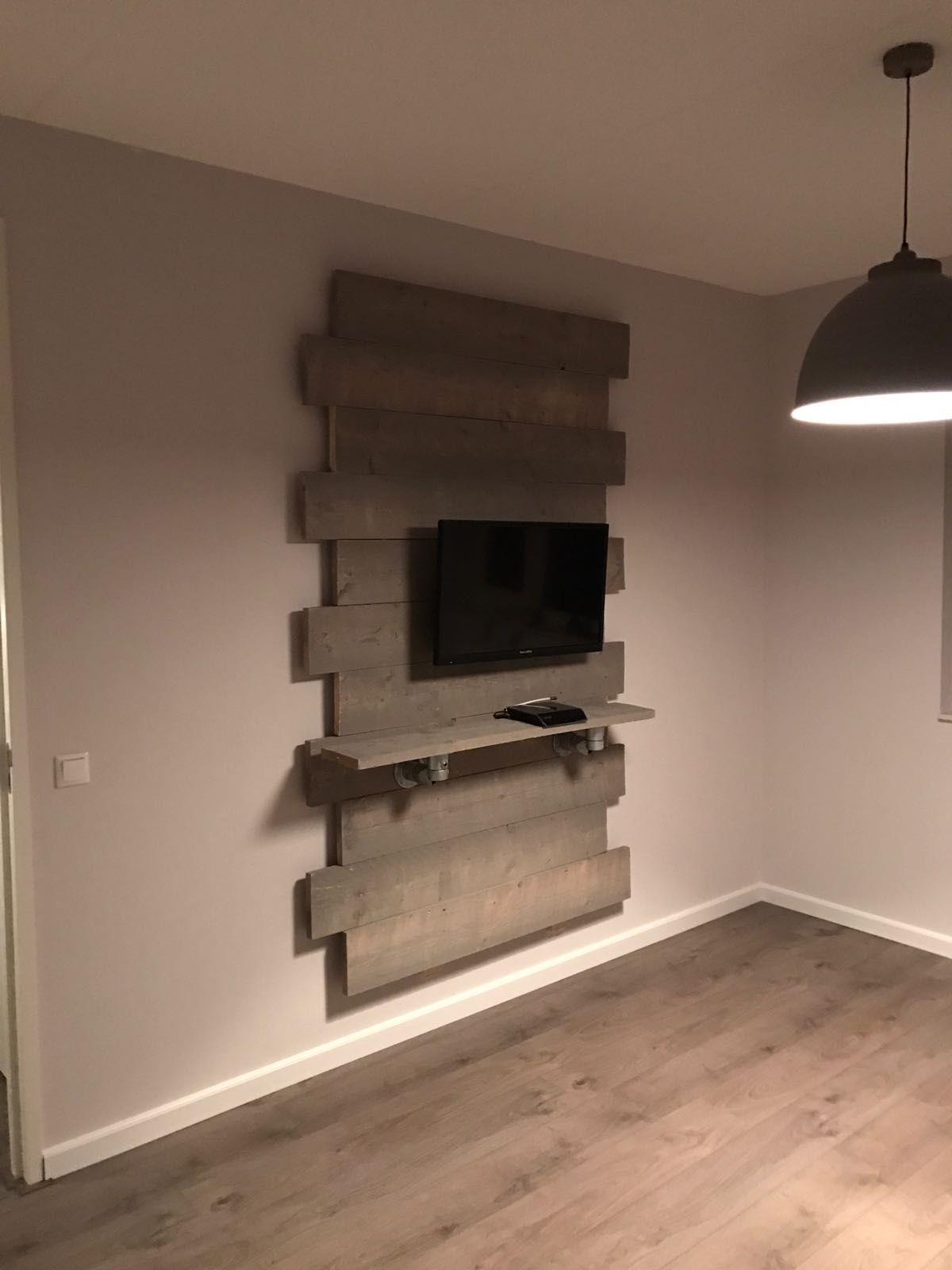 zelfgemaakt steigerhout tv meubel