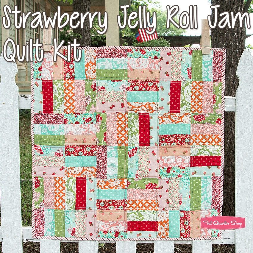 Strawberry Jelly Roll Jam Quilt KitFeaturing Hello Darling by Bonnie & Camille - Hello Darling - Moda Fabrics | Fat Quarter Shop