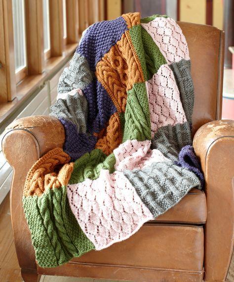 Free Knitting Pattern Patchwork Sampler Throw Todo Knitting