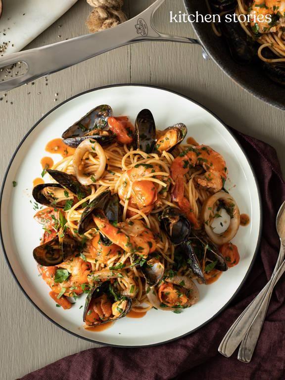 Italienische Meeresfrüchte Spaghetti | Rezept mit Video