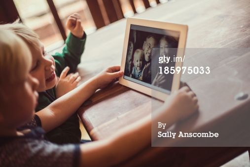 Stock Photo : Children staying connected to Grandparents online