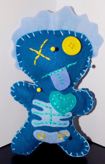 Feltie Felt Zombie Voodoo Stuffie Blue Yellow Teal Doll w/ Scars Tongue Patches Ribs Stitches