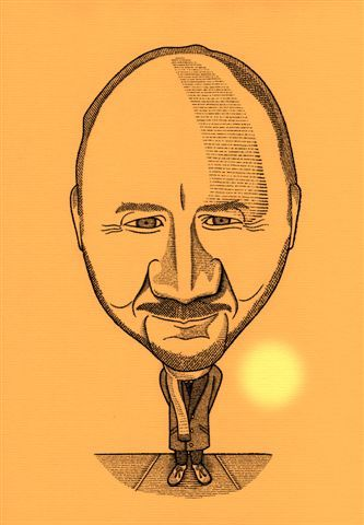 Pete Townshend caricature by Gary Roberts