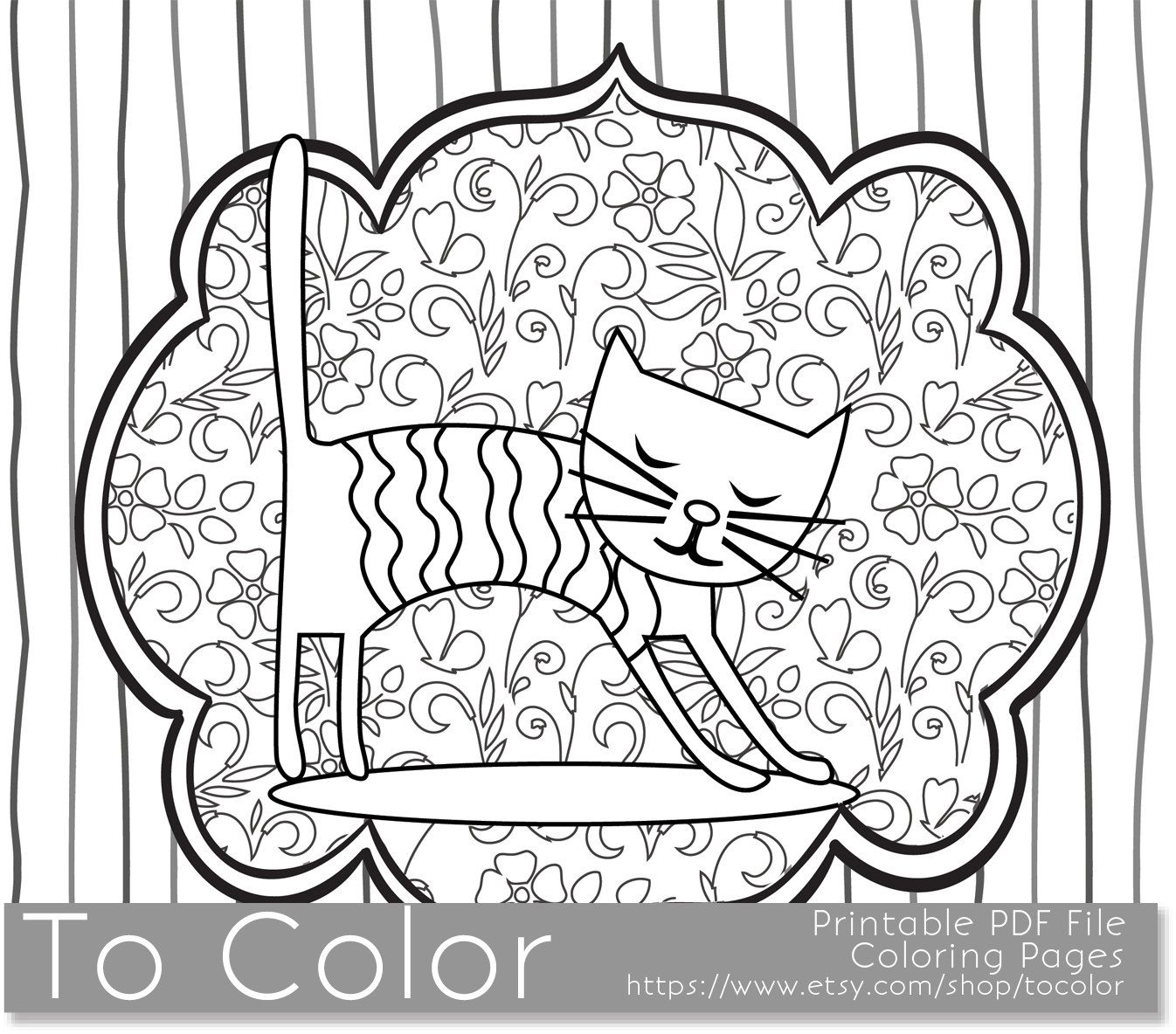 Printable Whimsical Cat Coloring Page for Adults, PDF / JPG, Instant ...