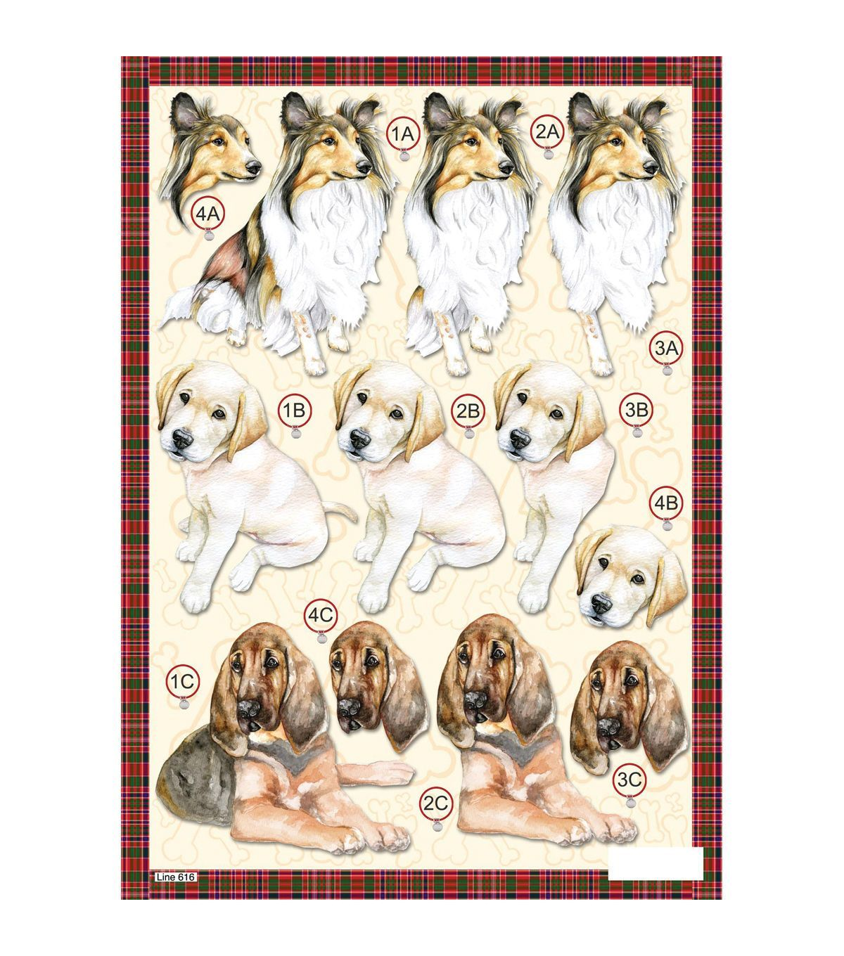 SET 3 Decoupage Dogs A4 Mixed Dogs pre cut decoupage for cards and crafts