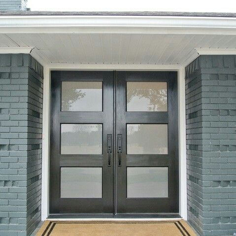 Black Front Doors With Painted Brick Double Front Doors Front Door Entrance Contemporary Front Doors