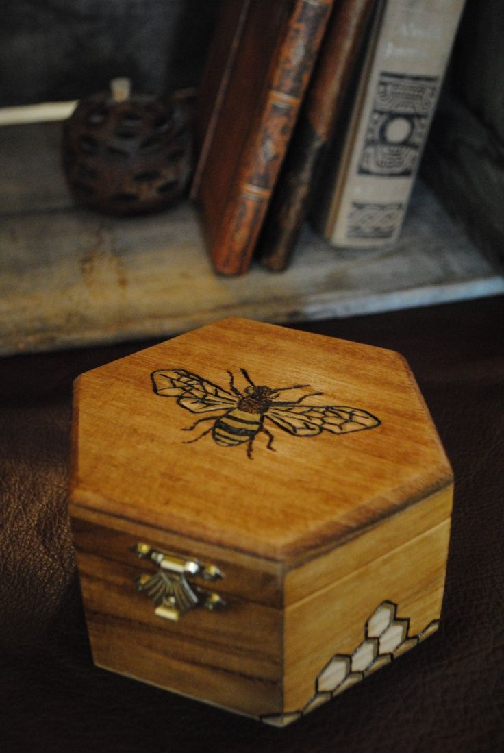 Wood Burned Bee On A Honeycomb Box With Images Wood