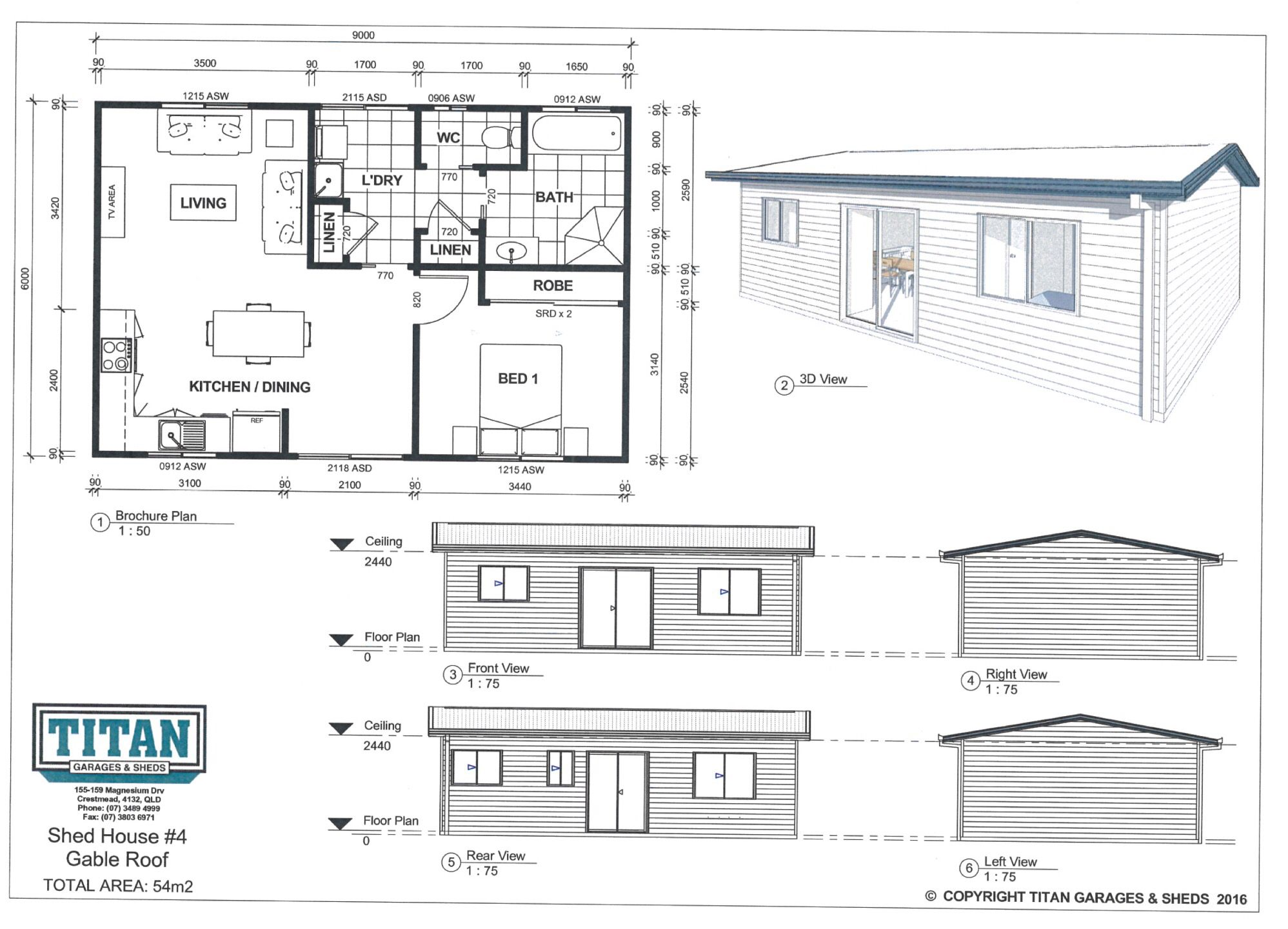 Best Titan Homes 4 Gable Roof 54M2 Www Titangaragesandsheds 400 x 300