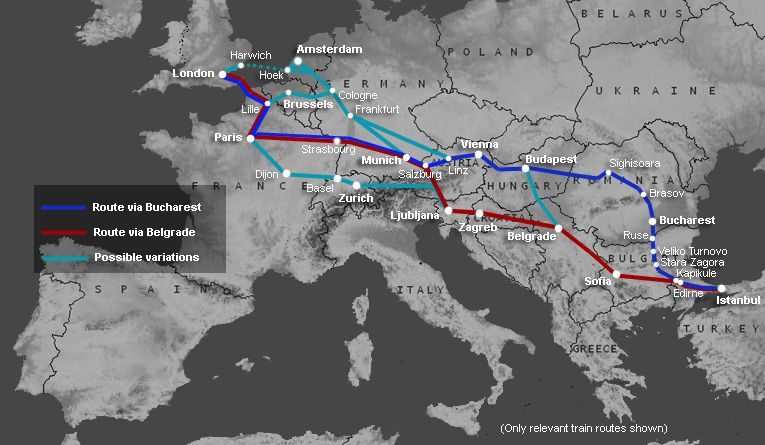Map Showing Train Routes From London Paris To Istanbul Turkey Train Travel Istanbul Travel
