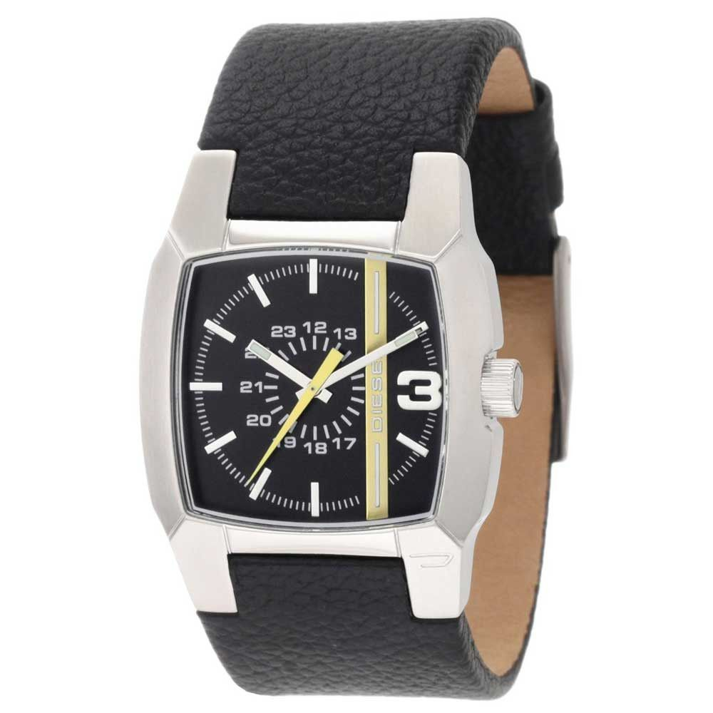 Diesel DZ1089 Unisex Yellow Accents Black Dial Leather