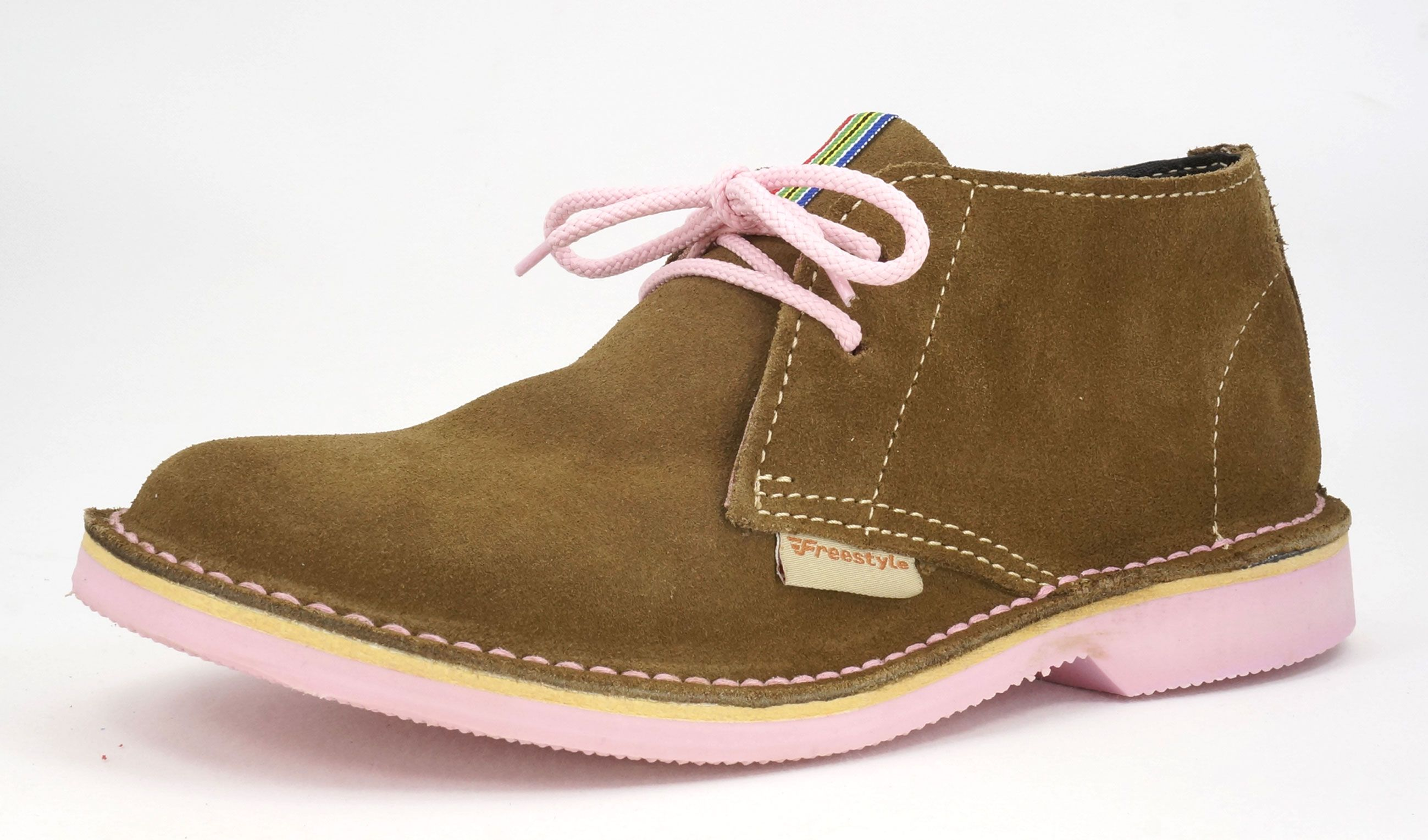 Freestyle Suede Khaki Pink Handcrafted Vellie Hunter Leather Shoes Woman Genuine Leather Boots Shoe Inspiration