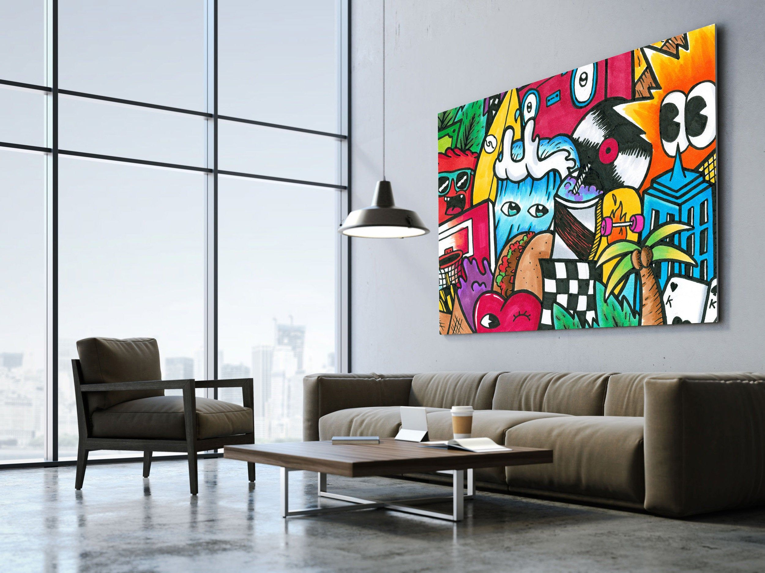 Extra Large Wall Art Pop Art Style Canvas Print Colorful Wall Etsy In 2020 Graffiti Wall Art Extra Large Wall Art Pop Art Canvas
