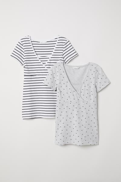 4bf33ecbb35 H&M MAMA 2-pack Nursing Tops - White   Baby P   Nursing tops, Tops ...