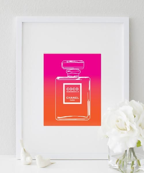 Ombre CoCo Chanel Perfume Bottle (Pink & Orange) Print | Wall Prints ...