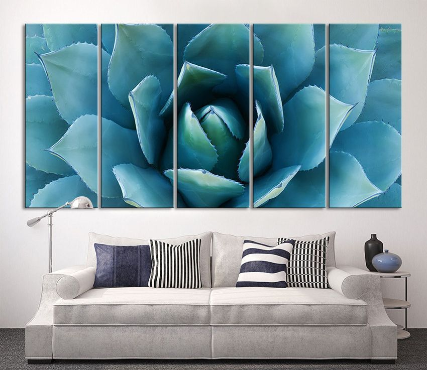 Large Wall Art Blue Agave Canvas Prints - Agave Flower Large Art ...