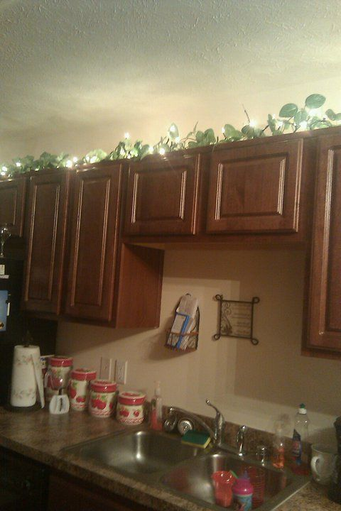 2 Dollar Vine 2 Dollar Lights Classy Decor To Cabinet Tops Do I Use Extension Cord Is It Safe To Have Light And Classy Decor Above Kitchen Cabinets Decor