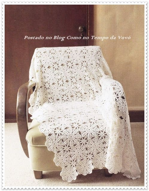 MANTA PARA SOFÁ EM CROCHÊ COM GRÁFICO | Afghan | Pinterest | Crochet ...