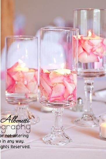 Rose Petals In Water With Candle Floating Center Pices