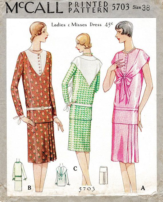 d0021c6baa4 1920s 20s flapper dress McCall 5703 vintage sewing pattern drop waist pleat  skirt bertha collar blouse bust 38 reproduction