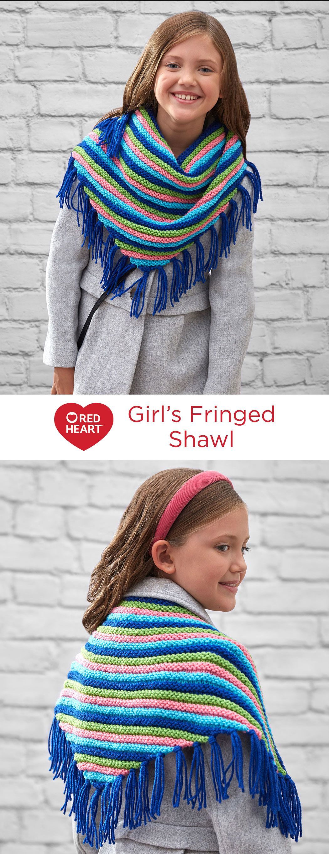 Girls' Fringed Scarf Free Knitting Pattern in Red Heart Yarns -- Choose four colorful shades in her favorite colors and knit a triangle scarf. It will keep the chill off on crisp days or add an extra layer of warmth on winter coat days. The Double Garter pattern starts at the top and decreases down to the point. Trendy fringe gives it the ideal finish!