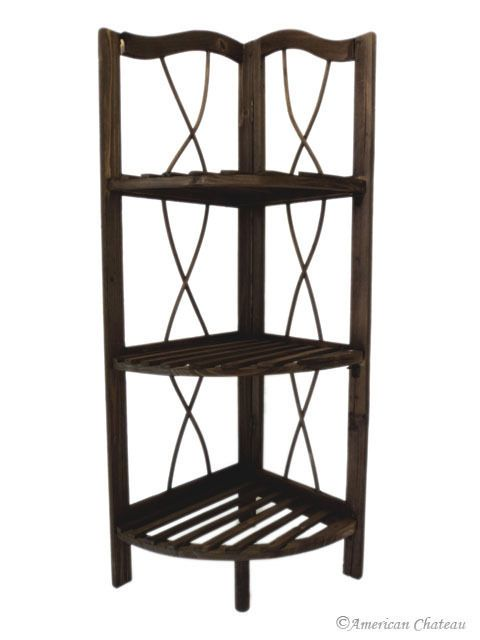 Free Standing Dark Wood Kitchen/Bathroom 3 Shelf Corner Shelving Unit