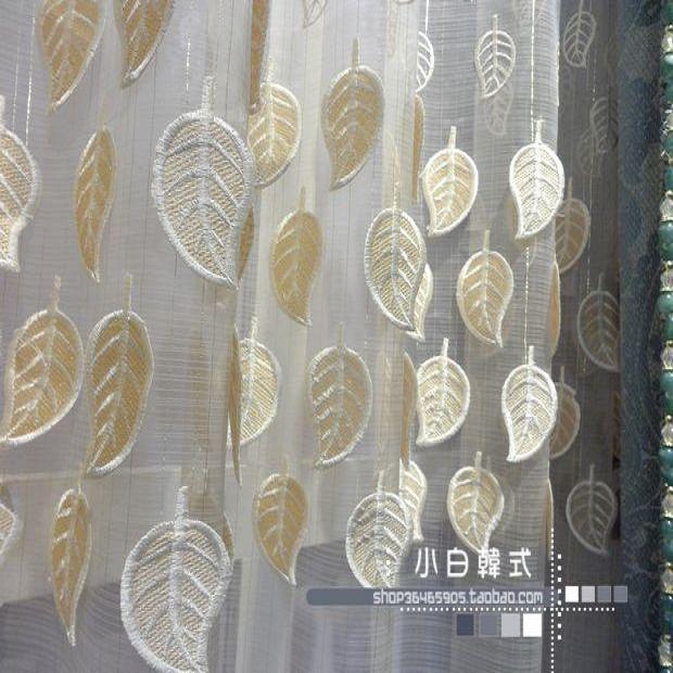 Modern 2013 leaves embossed embroidered yarn quality window screening
