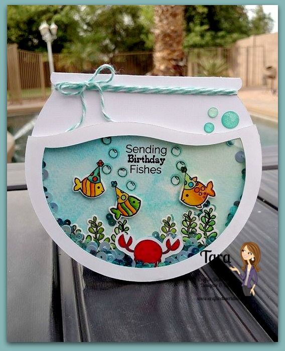 fish bowl shaker card Fish bowl is from Silhouette Store bjl – Birthday Cards Store