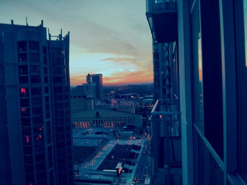 Sunset over city Hall
